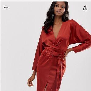 ASOS rust satin dress